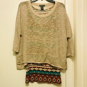 Very Cool Mixed Media Blouse SzS